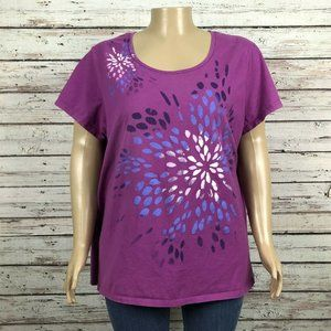 Just My Size T-shirt Purple Floral Glitter PLUS